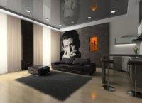 Оригинальная спальня в светло-серых тонах с фотообоями