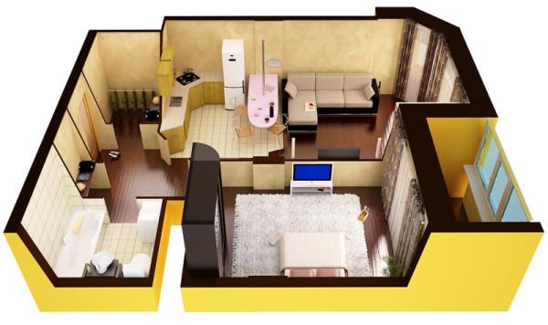 Фото проекта однокомнатной квартиры