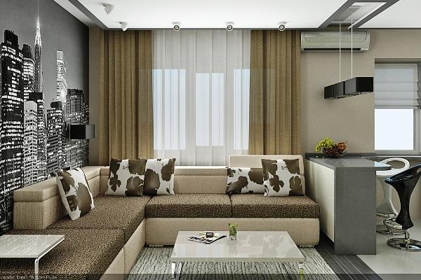 Стулья, столы и кровати подбираются нейтральных цветов, таких как серый, бежевый, коричневый.