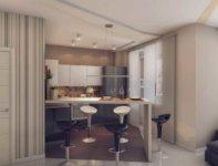 Кухня в квартире студии 30 кв. м занимает меньше пространства, чем гостиные.