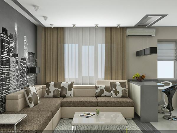 Оригинальный дизайн однокомнатной квартиры студии 30 кв.м