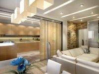 Формой и освещенностью участков потолка можно подчеркивать принадлежность определенного участка комнаты той или иной зоне.