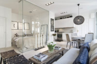 Интерьер квартиры студии 34 кв. метра зависит от особенностей функциональных зон и количества проживающих человек