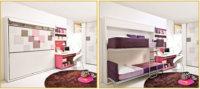 Квартира студия маленькая, дизайн которой выполнен в белых, бежевых или серых тонах, может быть оборудована кроватью-трансформером.