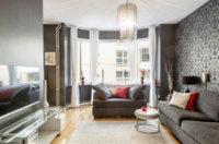 Будет оригинальной квартира студия 47 кв. м, дизайн простой и лаконичный.