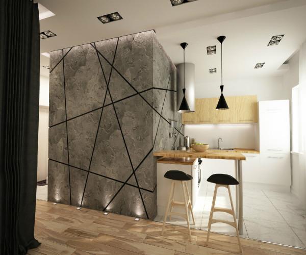 Дизайн квартиры студии с серым полом подразумевает использование различных источников света.