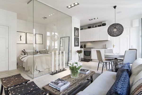 Отличное оформление квартиры для молодой пары без детей.