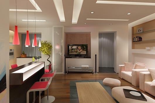 Другой вариант студии – это гостиная с небольшим кухонным уголком.