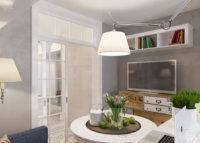 Кухонная мебель для студии квартиры занимает мало места.