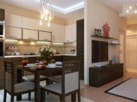 Место для готовки и обеденная зона - это шкафы, холодильник, плита белого цвета.