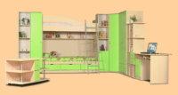 Эргономику спальной повышает использование двух ярусной кровати, в основании которой размещается домашний кабинет либо кухонная зона.