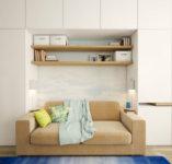 Дизайн проект квартиры студии 40 кв. м должен предусматривать шкафы, полки для хранения вещей.