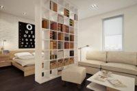 Конструкция, которая разграничивает зоны в квартире, служит еще и стеллажом для размещения книг, разных необходимых ежедневно мелочей, сувениров.