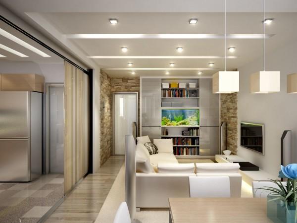 Дизайн студии квартиры 25 предполагает использовать интересное и продуманное решение освещения.