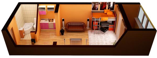 Простая перепланировка 1-комнатной квартиры