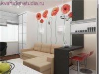 Для этого проекта рекомендуется заказать бежевые фасады мебели и ламинат цвета «дуб».