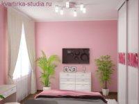 Розовые оттенки в малогабаритной квартире студии.