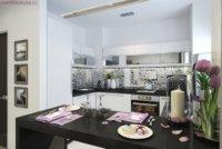 Дизайн квартиры-студии может предусматривать различные проекты устройства обеденной зоны.