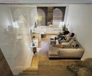 От гостиной помещение для сна может быть отделено шторкой или любой другой ширмой.