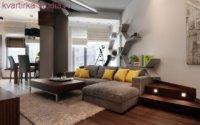 Внутри однокомнатной квартиры-студии лучше, когда складной диван заменяет кровать, а напротив него стоит диван.