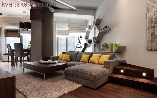 внутри однокомнатной квартиры студии лучше когда складной диван