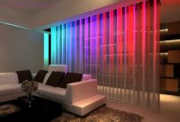 Зонирование помещения происходит с помощью декоративных перегородок.