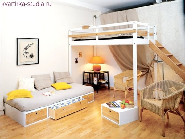 Совсем маленькая однокомнатная квартира, дизайн студия.