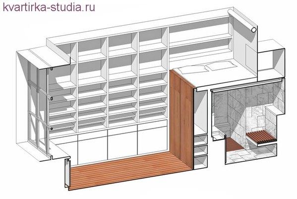 Обычный проект квартиры со спальней.