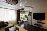 Совмещаем зал с кухней и делаем спальную зону.