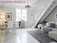 Дизайн студия: однокомнатная квартира в светлых тонах.