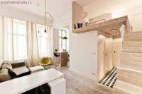 Двухуровневая однокомнатная квартира студия, дизайн