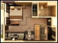 Спальня рядом с санузлом, кухня совмещена с залом и столовой.