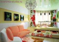 Дизайн однокомнатной квартиры студии для семьи с ребенком.