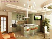 Простой дизайн маленькой квартиры студии.