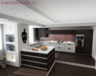 Гостиную комнату или же кухню, можно разместить на подиуме.
