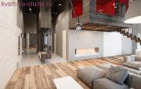 Интересный вариант студии в стиле хай-тек в двух уровнях.