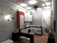 Удачный дизайн проект в маленькой квартире.