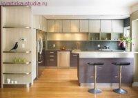 Оформление кухни в стиле модерн, барная стойка основной атрибут.