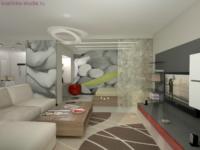 Оставшееся помещение совмещает функции гостиной и спальни.