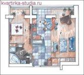 Разделение: спальня с санузлом и кухня/гостиная/столовая