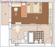 Спальная зона с кабинетом, столовая с кухней