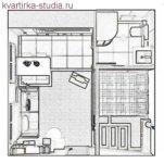 Идеальное решение студии квартиры, план