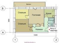 Проект квартиры студии с большим балконом