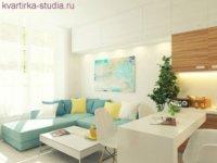 Примерно так можно организовать пространство в маленькой комнате