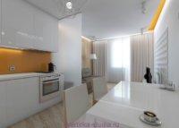 Узкая квартира, проект «студия», оформление кухонной зоны