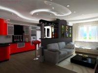 Зонирование при помощи потолочных конструкций и осветительных приборов