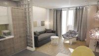 Квартира студия 15 кв. м – дизайн и оформление