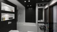 Черно-белый вариант для ванной 5 квадратов