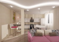 Хрущевка 2 х комнатная, дизайн при помощи колонн