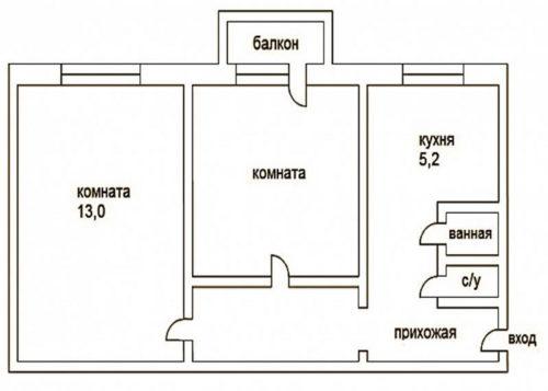 2х комнатная, дизайн, хрущевка для большой семьи